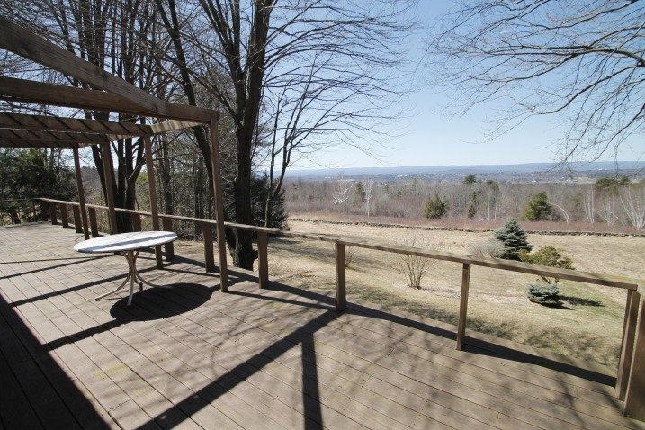The back deck of 47 Arnold Road, Pelham with the view.