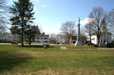The Belchertown town common with the Civil War Memorial.