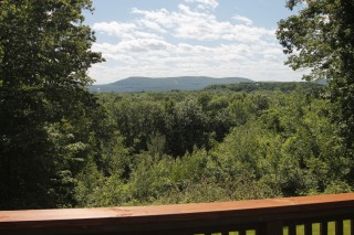 The view of Mount Tom from the  expansive deck.