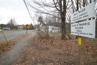 The Mill River Conservation area trailhead in Cushuman (note Cushman Market on the left).