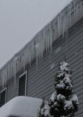 The same forces that produce icicles produce ice dams.